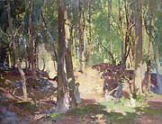 Woods; Shadows; Trees Paintings - Morning in the Woods by Harry Watson