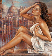 Art  Portraits Paintings - Morning in Venice by Arthur Braginsky
