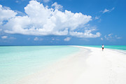 Jogging Framed Prints - Morning Jogger On Sandbank, Kuramathi Island, Rashdoo Atoll, Alifu, Maldives, Indian Sub-continent Framed Print by Felix Hug