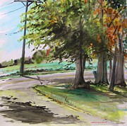 Pole Drawings - Morning Light Across from the Soybean Field by John  Williams