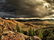 Lost River Mountains Photos - Morning Light and Thunder Shower by Leland Howard