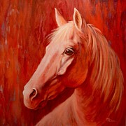 Red Horse Paintings - Morning Light by Theresa Paden