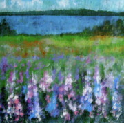 Lupines Paintings - Morning Meadow by Douglas AmEnde