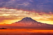 Dawn - Morning Mist About Mount Rainier HDR by Sean Griffin