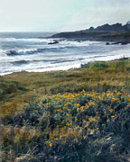 Cambria Paintings - Morning Mist at Ocean Shoreline by Elaine Plesser