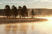 Yellowstone Park Scene Prints - Morning Mists Print by Corinna Stoeffl, Stoeffl Photography