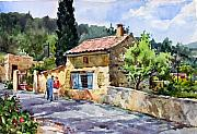 Wine Country. Painting Prints - Morning News in Gigondas Print by Tony Van Hasselt