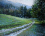 Fog Mist Pastels Prints - Morning on Blue Mountain Road Print by Susan Jenkins