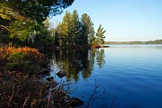 Calm Waters Prints - Morning on Chad Lake 3 Print by Larry Ricker