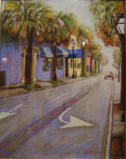 City Scape Pastels - Morning on King Street Charleston SC by Hillary Gross