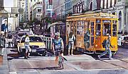 Bicycle Painting Originals - Morning on Market Street by Mike Hill