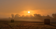 Hay Bales Photos - Morning On The Farm by Ron  McGinnis