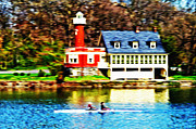 Row Boat Digital Art Prints - Morning on the Schuylkill River Print by Bill Cannon