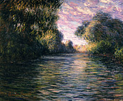 Trees Reflecting In Water Painting Posters - Morning on the Seine Poster by Claude Monet