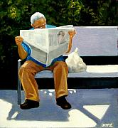 Park Bench Prints - Morning Paper Print by Joyce Geleynse