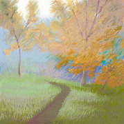 Fall Grass Pastels Framed Prints - Morning Path 2 Framed Print by Bruce Richardson