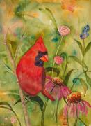 Red Cardinal Prints - Morning Perch in Red Print by Renee Chastant