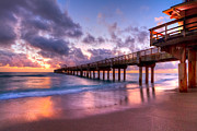 Sunset Greeting Cards Prints - Morning Pier Print by Debra and Dave Vanderlaan