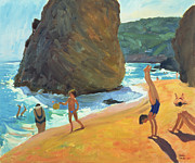 Children Playing Paintings - Morning Platja dos Rosais Costa Brava by Andrew Macara