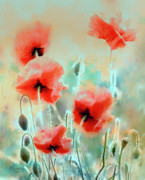 Pastel Art Prints - Morning Poppies Print by Rosalina Atanasova