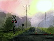 Suburbs Paintings - Morning Railroad Crossing by Sergey Zhiboedov