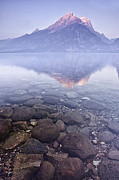 Mountain Reflection Posters - Morning Reflection  Poster by Andrew Soundarajan