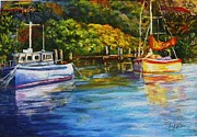 Boats Pastels Prints - Morning reflexions.Jervis Bay. Print by Marieve Ortiz