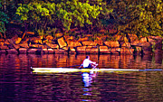 Rowing Crew Digital Art Posters - Morning Row Poster by Bill Cannon