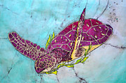 Hawaii Sea Turtle Paintings - Morning Seaweed Run by Shari Carlson