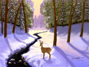 Snow Scenes Digital Art - Morning Shadows by Sena Wilson