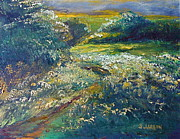 Meadowlark Paintings - Morning Sky Over Meadow by Outre Art Stephanie Lubin