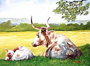 Texas Longhorn Cow Prints - Morning Solitude Print by Howard Dubois