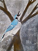 Bluejay Painting Metal Prints - Morning Song Metal Print by Kemberley Edelstein