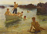 Wooden Painting Metal Prints - Morning Splendour Metal Print by Henry Scott Tuke