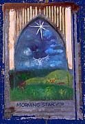 Anne Cameron Cutri Metal Prints - Morning Star Folk Art Metal Print by Anne Cameron Cutri