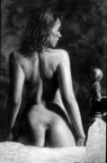 Figure Study Pastels Prints - Morning Stretch Print by Mike Sheldon
