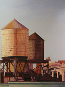 Nyc Rooftop Prints - Morning Sun on New Water Tank Print by Gary Conger