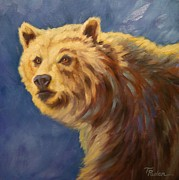 Grizzly Bear Paintings - Morning Sun by Theresa Paden