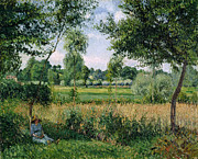 Woman In Summer Meadow Posters - Morning Sunlight Effect at Eragny Poster by Camille Pissarro