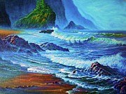 Sun Rays Painting Prints - Morning Surf Oregon Print by Joseph   Ruff