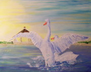 Swans... Paintings - Morning Swans by Rich Mason
