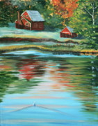 Little Red River Painting Metal Prints - Morning swim Metal Print by Lorraine Vatcher