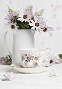 Vintage Teacup Prints - Morning Tea With Flowers Print by Christopher and Amanda Elwell