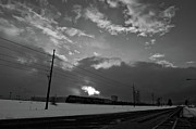 Flurries Posters - Morning Train in Black and White Poster by Scott Sawyer