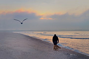 York Beach Digital Art Metal Prints - Morning Walk Metal Print by Bill Cannon