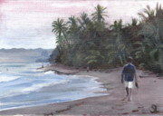 Puerto Rico Painting Posters - Morning Walk Poster by Sarah Lynch