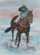 Jockey Painting Originals - Morning Workout by Val Stokes