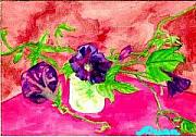 Ocean Art Paintings - Mornng Glories in Fuscia by Ocean Art