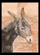Donkey Mixed Media Framed Prints - Moroccan donkey Framed Print by Laura Vazquez