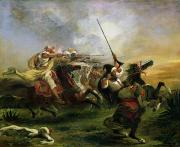 Warfare Painting Prints - Moroccan horsemen in military action Print by Ferdinand Victor Eugene Delacroix